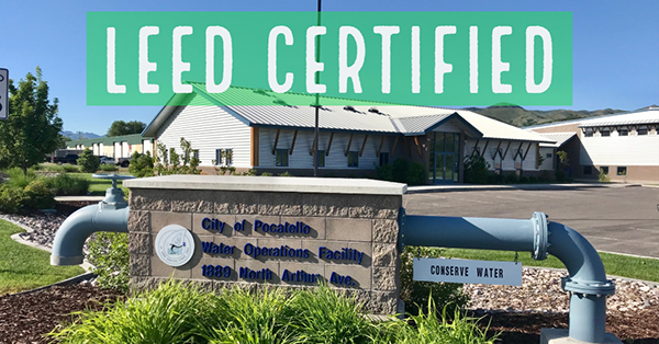 News release graphic announcing Pocatello's Water Operations Facility as LEED Certified