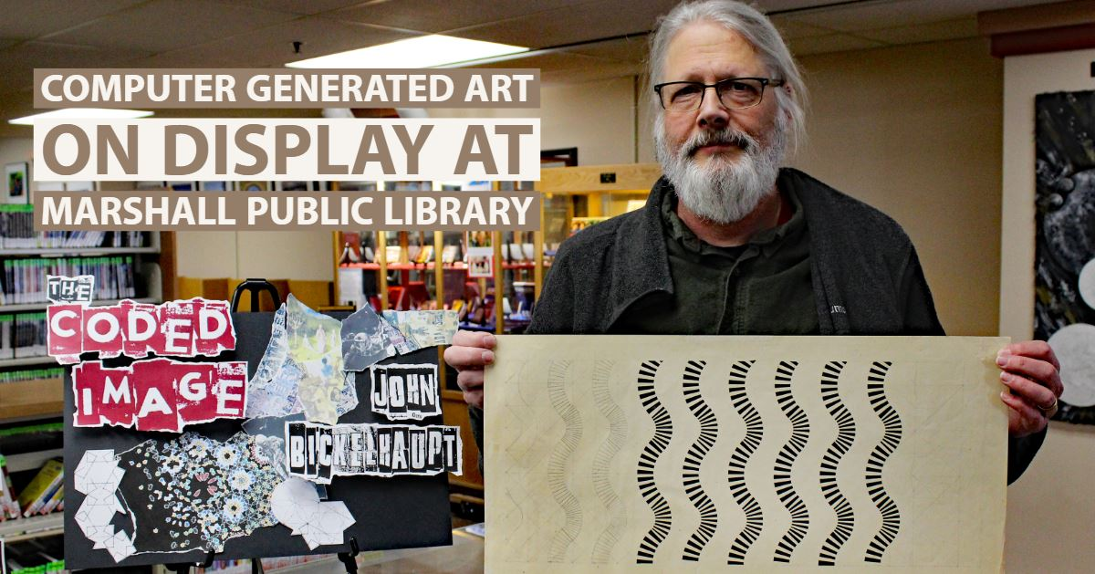 John Bickelhaupt stands with one of his works that is on display at the Marshall Public Library duri