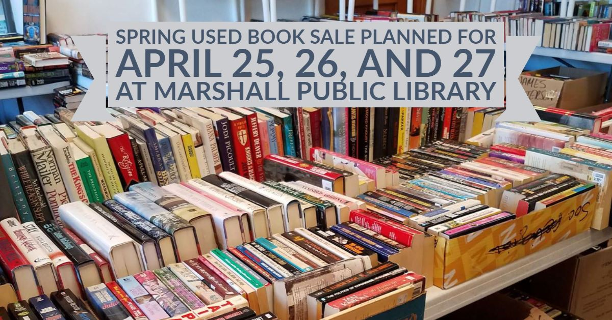 Used books on sale at the Marshall Public Library.