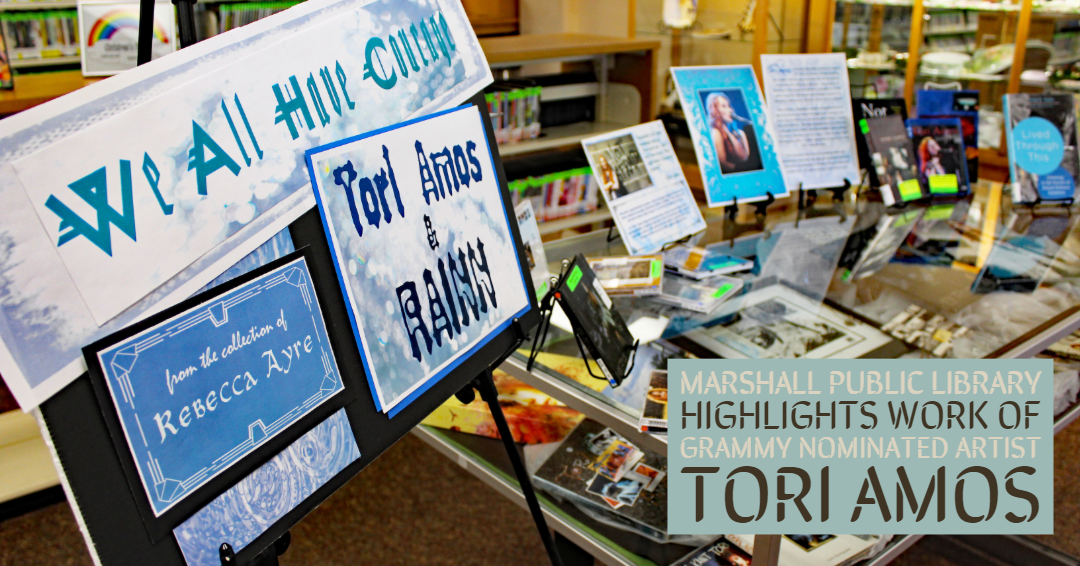 The Tori Amos display at the Marshall Public Library.