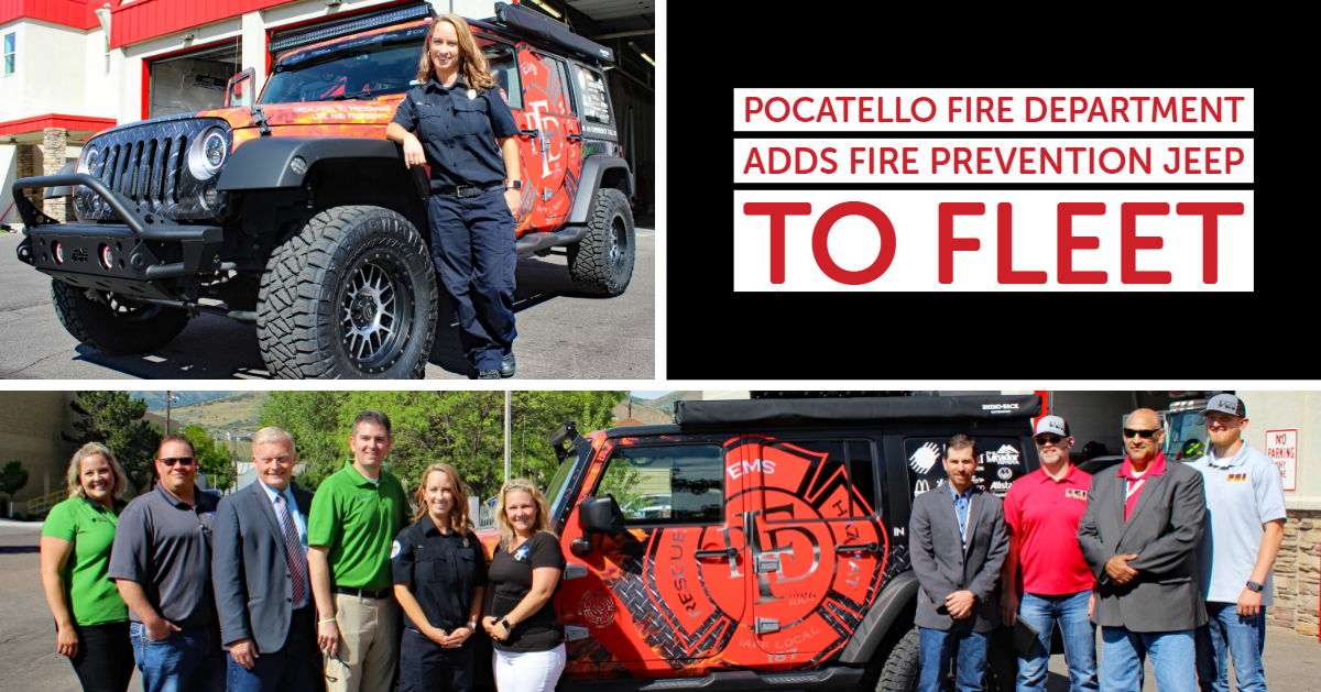 Kim Stouse, Community Relations/Education Specialist, stands with the Pocatello Fire Department's ne