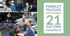 Participants enjoy parklets at PARK(ing) Day 2018.
