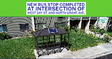 Aerial View of the new bus stop at West Day St. and North Grant Ave.