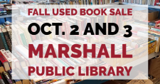 Books for sale at the Marshall Public Library.