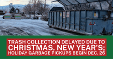 City of Pocatello Sanitation Dept. Christmas tree collection dumpster