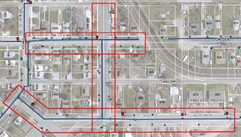 North Lincoln Ave., North Buchanan Ave., and West Custer St. water main line project map