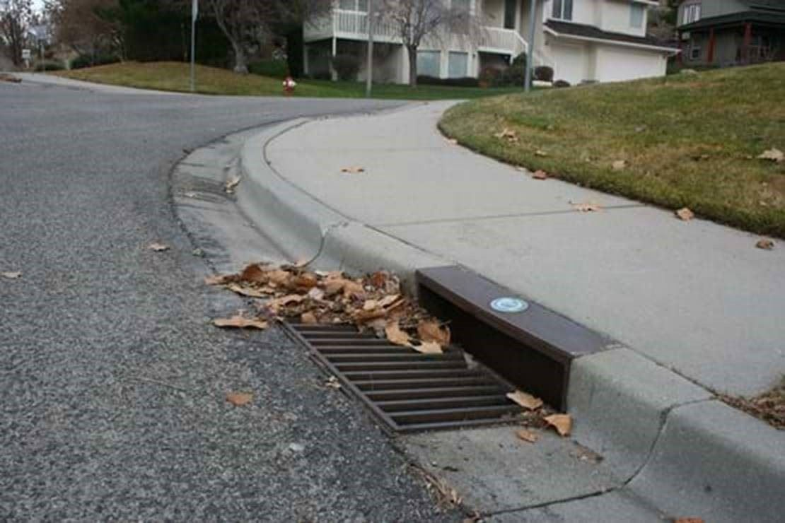 Storm drain along a street in Pocatello, Idaho